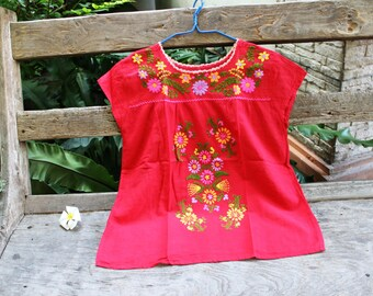 L-XL Bohemian Embroidered Top - Red