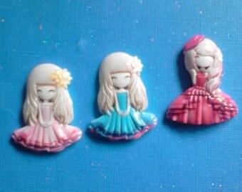 Kawaii anime girl cabochon decoden charms 3 pcs--USA seller