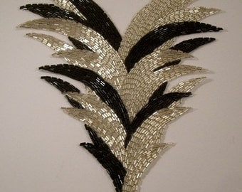 ON SALE Very Large Black and Silver Triangular Beaded Applique--One Piece