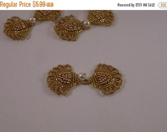 ON SALE Gold and Pearl Beaded Frog Closure--One Piece