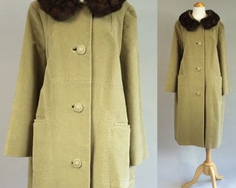 50s Coat with Mink Collar / Vintage 50s Coat / 1950s Vintage Coat / 50s Juli de Roma Coat / 1950s Water Repellent Coat / Vintage Swing Coat