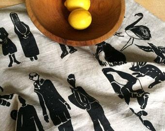 Natural Linen Tea Towels w-Modern Design, kitchen towels, linen dish towels, dishtowels, pair of