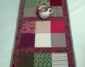 "Winter Village Fabric Table Runner ~ 43"" x 16.5"" ~ Reversible ~ Machine Quilted ~ RJR fabrics ~ Primitive Table Runner ~ Flying Santa's"