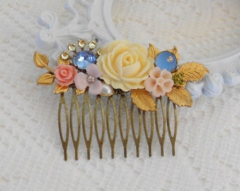 Leaf Hair Comb, Bridal Hair Comb, Floral Headpiece, Pastel Hair Comb, Jeweled Hair Comb, Garden Wedding Hair Comb, Assemblage Comb