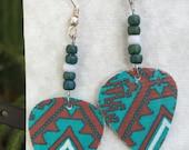 Turquoise style custom made guitar pick earrings
