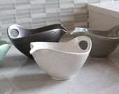 NEW!  Batter Bowl! Pottery Bowl with Spout and Handle - White