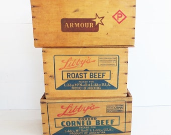 Vintage Wood Shipping Crate . Wooden Box . Industrial Home Decor . Libby's Corned Beef Crate