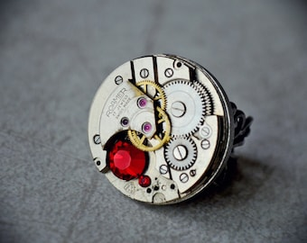 Steampunk Ring, mechanical watch movement ROAMER, metal grey and red rhinestone