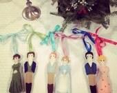 Jane Austen Couple Felt Ornaments