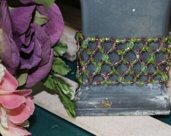 Green & Purple Wide Beaded Bracelet