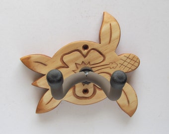 Guitar hanger, wall mount holder, hand carved huno/hibiscus
