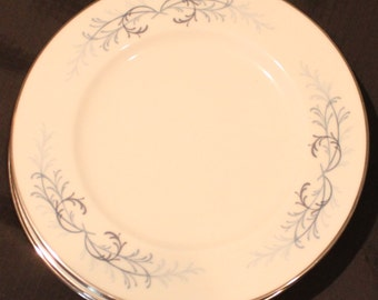 Lucerne Butter Plates- Vintage Butter Plates in Lucerne by Franciscan- Blue/Grey Ferns on Rim