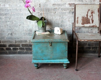 Low Side Table Vintage Merchant Chest Indian Reclaimed Bright Blue Chest Small Trunk Table Farm Chic Boho Industrial Storage Table