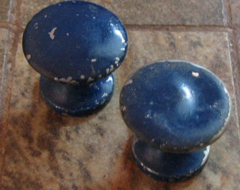 Vintage Petite Blue Drawer Pulls Small Cabinet Knobs Set of 2 Assemblage Altered Art Mixed Media Craft Supplies