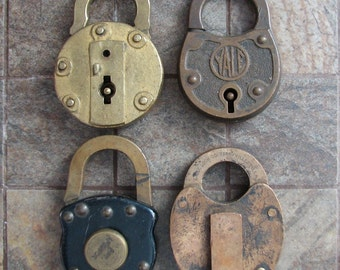 Vintage Padlocks Combination Key Locks Set of 4  Fraim Eagle Yale Collectibles Altered Art Assemblage Mixed Media Craft Supplies