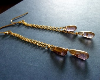 40% OFF SALE! - Bronze Plum Drops Chain Earrings