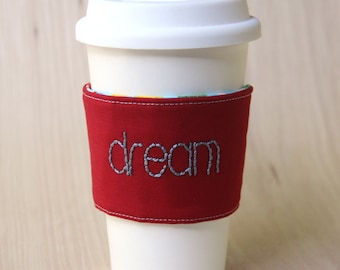 Pencil Coffee Cup Sleeve - Red Dream Coffee Cozy - Ready to Ship