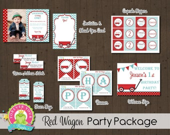 Red Wagon Party Package / Red Wagon Invitation / Red Wagon Birthday / Red Wagon Party / Red Wagon Invite / Little Red Wagon Birthday