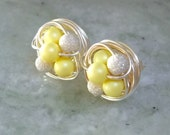 Mix It Up Series- Pastel Yellow  / Star Dust-Swarovski Glass Pearl and Stardust bead Wire Wrapped Stud Earrings