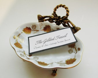 Hollywood Regency Trinket Dish, Gilded Tassel Soap Dish, Ring Holder,Vanity Table Decor, Porcelain Dish