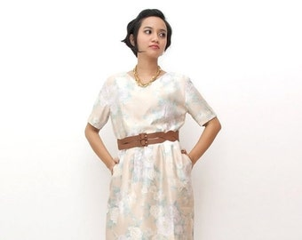 SUPER SALE ON Sale/Vintage 90s Dress/90s Pink Dress/Peach Pink Pastel Floral Print Sheath V-neck Dress, Medium / Large