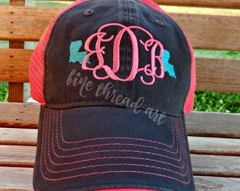 Ladies Mini State Baseball Cap Hat Fabric Strap Monogram