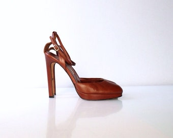 Brian Atwood Platform Stiletto High Heel Shoes // Vintage Brown Leather Ankle Strap Heels // Size 7