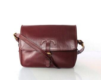 Vintage Trussardi Leather Saddle Bag Purse //  Oxblood Crossbody Shoulder Bag