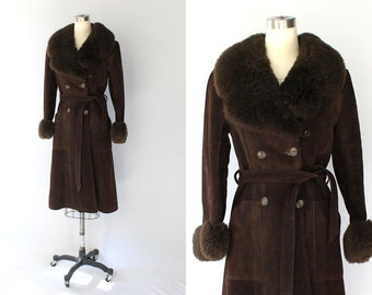 1960s Saks Fifth Avenue Belted Suede Coat with Faux Fur Collar // Dark Brown Vintage Coat // XS - Small