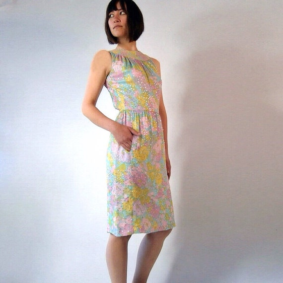1950s Floral Silk Dress with Beaded Neckline & Sequins // 50s Pastel Sheath Dress // Small