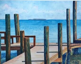 Modern original watercolor, wall art, ocean