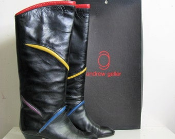 Chic 80s Black Boots Vintage 1980s Andrew Geller Leather High Womens Dress Boots 8