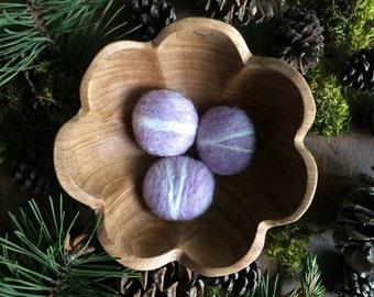 Felted wool pebbles, Purple Heather, set of 3, felt river rocks, purple felt stones, purple cat toys, easter gift, handmade easter decor