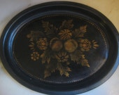 Antique Victorian Toleware Painted & Hand Stenciled Tin Tray 11 Inch by 8 1/2 Inch, 1 Pc., Repainted