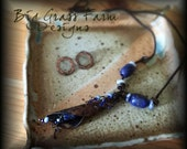 Rustic Necklace - Wire Wrapped, Handmade - Blue Lapis Lazuli Flower Necklace
