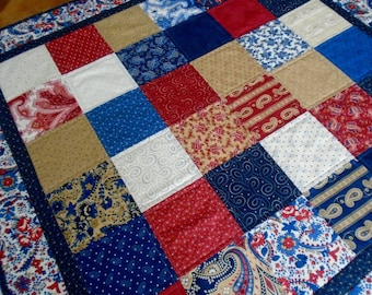 Quilted Table Topper, Quilted Table Runner, Americana, Patriotic Table Quilt, Small Lap Quilt, Independence Day, Fourth of July