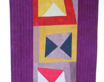 Modern jewel-tone wonky-block quilted wallhanging
