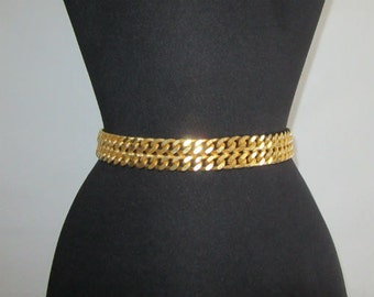 Vintage red leather chain belt