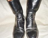 Black Leather FRYE Vintage Men's Ankle Boots 7.5 D Western Motorcycle Campus