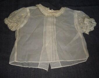 Sheer Puffsleeved Vintage 1950's Baby Girl Rockabilly Shirt