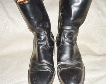 Black Leather FRYE Vintage Men's Ankle Boots 7.5 D Western Motorcycle Campus