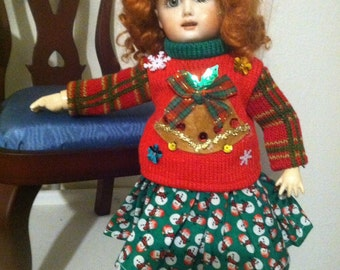 SALE-Snowman skirt and jingle bell sweater fits bleuette
