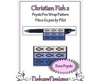 Bead Pattern Peyote(Pen Wrap/Cover)-Christian Fish 2