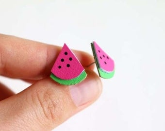 Watermelon Stud Earrings, Fruit Jewelry Made with Leather