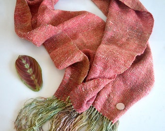 Pink Ombre Handwoven Scarf, Hand Dyed, Hand Painted, Silk Rayon Woven Scarf, Wife Gift, Mother's Day Gift