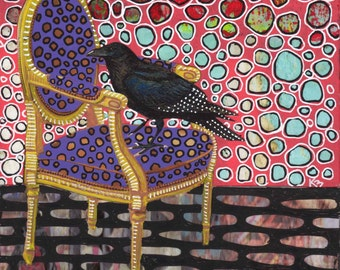Crow on a Chair original art