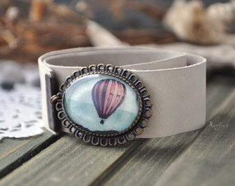 Hot air balloon bracelet - leather bracelet, brown bracelet, sky steampunk, gift idea for her, gift for girlfriend - made to order