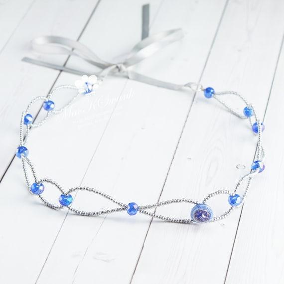 Matte Silver Headband - Beaded Headband - Tie Headband - Vintage Button Headband - Blue Crystal Headband - One of a Kind Hair Piece - OOAK
