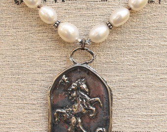 Sterling Silver Horse Necklace Freshwater Pearl Horse Jewelry One of a Kind Neutral Elegant Equestrian Jewelry