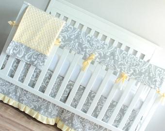 Gray & Yellow Damask Crib Rail Bedding set.